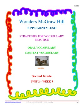 Wonders Supplemental Unit for Oral and Context Vocabulary Unit 2 - Week 3