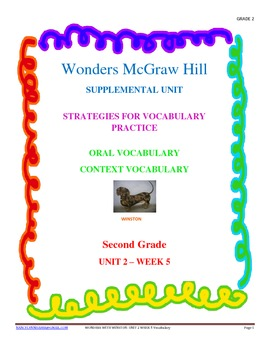 Wonders Supplemental Unit for Oral and Context Vocabulary Unit 2 - Week 5