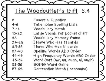 Wonders The Woodcutter's Gift 5.4 {8 Literacy Activities}