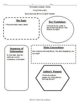 Wonders Thinkmark Literature Circles Graphic Organizer Unit 5 Week 4