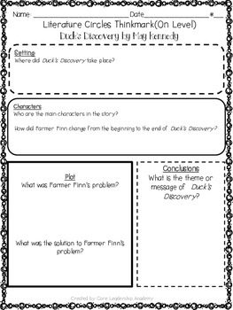 Wonders Thinkmark Literature Circles Unit 1 Week 1~3rd Grade