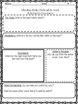 Wonders Thinkmark Literature Circles Unit 1 Week 3~3rd Grade