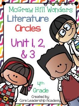 Wonders Thinkmark Literature Circles Unit 1,2, & 3 ~ 4th Grade