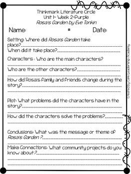 Wonders Thinkmark Literature Circles Unit 1.2 ~ 4th Grade