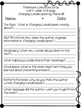 Wonders Thinkmark Literature Circles Unit 1.3 ~ 4th Grade