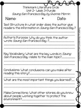 Wonders Thinkmark Literature Circles Unit 2.3 ~ 4th Grade