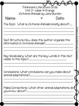 Wonders Thinkmark Literature Circles Unit 2.4 ~ 4th Grade