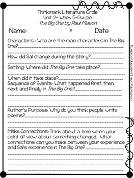Wonders Thinkmark Literature Circles Unit 2.5 ~ 4th Grade