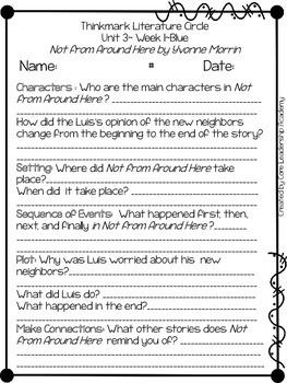 Wonders Thinkmark Literature Circles Unit 3.1 ~ 4th Grade