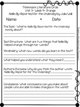 Wonders Thinkmark Literature Circles Unit 3.4 ~ 4th Grade