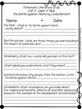 Wonders Thinkmark Literature Circles Unit 3.5 ~ 4th Grade