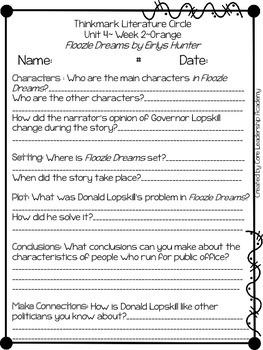 Wonders Thinkmark Literature Circles Unit 4.2 ~ 4th Grade