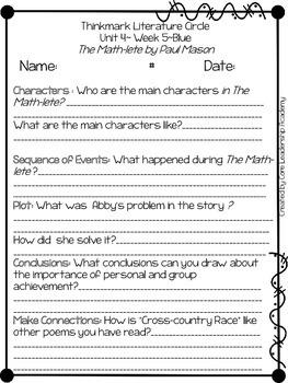 Wonders Thinkmark Literature Circles Unit 4.5 ~ 4th Grade