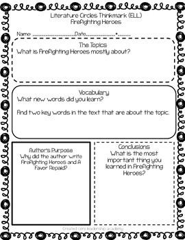 Wonders Thinkmark Literature Circles Unit 5 Week 3~3rd Grade