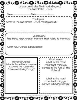 Wonders Thinkmark Literature Circles Unit 5 Week 5~3rd Grade