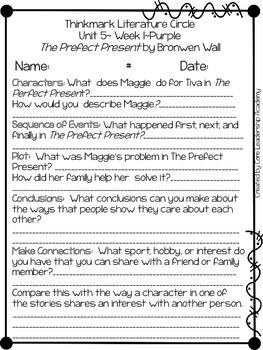 Wonders Thinkmark Literature Circles Unit 5.1~ 4th Grade