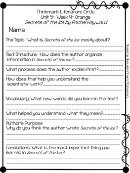 Wonders Thinkmark Literature Circles Unit 5.4 ~ 4th Grade