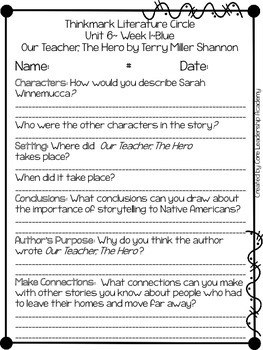Wonders Thinkmark Literature Circles Unit 6.1 ~ 4th Grade