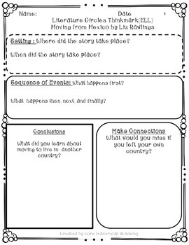 Wonders Thinkmark Literature Circles Complete Unit 2 Week 1-5
