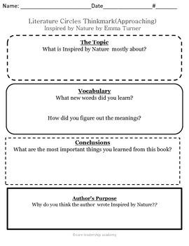 Wonders Thinkmark Literature Circles~Unit 3 Week 4