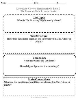 Wonders Thinkmark Literature Circles~Unit 4 Week 4