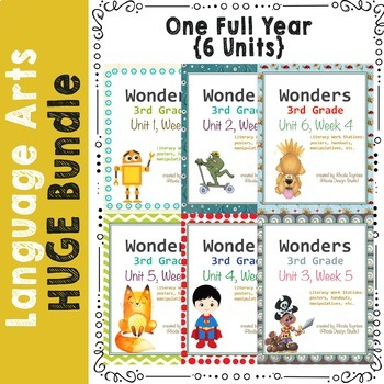 Reading and Literacy Centers Worksheets FULL YEAR Wonders 6 Units Bundle