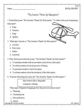 Wonders Third Grade (3rd Grade) Comprehension Unit 2 Week 5