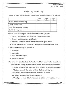 Wonders Third Grade (3rd Grade) Comprehension Unit 5 Week 3