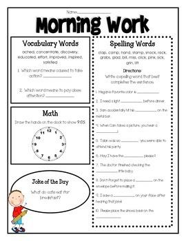 Wonders Third Grade Morning Work