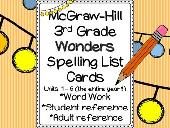 Wonders Spelling Cards (3rd Grade): Word Work, Student and Adult Reference