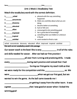 Mc Graw Hill Wonders Third Grade Vocabulary Test Unit 1 Week 1