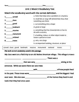 Mc Graw Hill Wonders Third Grade Vocabulary Test Unit 1 Week 5