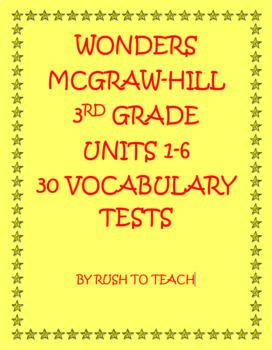 Wonders Third Grade Vocabulary Tests Units 1-6 Bundle
