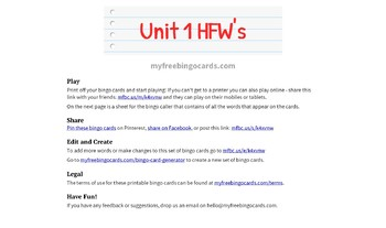 Wonders Unit 1 HFW Bingo