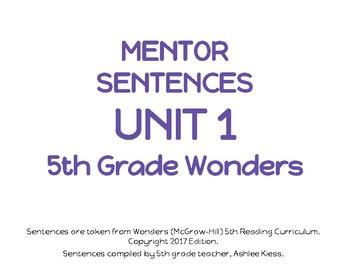 Wonders Unit 1 Mentor Sentences Grade 5