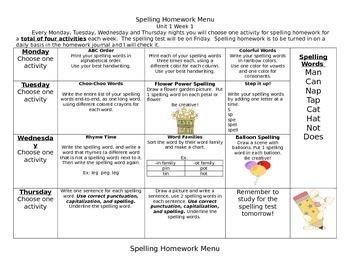 McGraw Hill Wonders Spelling Homework Bundle Unit 1
