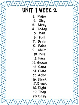 Grade 4 - Wonders Unit 1 Spelling Words, Weeks 1-5