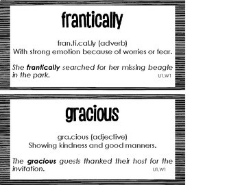 Wonders, Unit 1 Vocabulary Cards