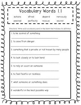Wonders Unit 1 Vocabulary Tests