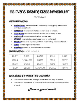 Wonders Unit 1 Week 1 4th grade Newsletter