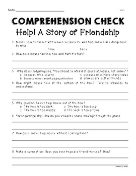 Wonders Unit 1 Week 1 Help! A Story of Friendship Comprehension Check