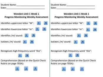 Wonders Unit 1 Week 1 Kindergarten Weekly Assessment Recording Sheet