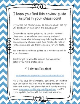 Reading Wonders Unit 1 Week 1 Review / Parent Guide Freebie