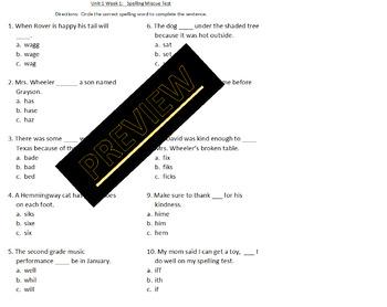 Wonders Unit 1 Week 1 Spelling Miscue test