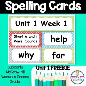 Wonders Unit 1 Week 1 Spelling Words Freebie Second Grade