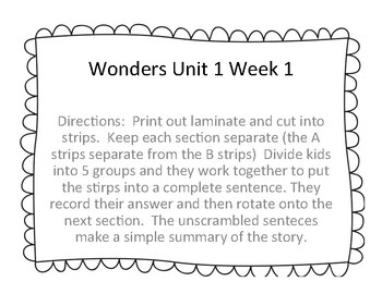 Wonders Unit 1 Week 1 Story Unscramble