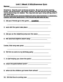 Wonders Unit 1 Week 2 DOL & Grammar Quiz