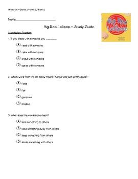 Wonders - Unit 1, Week 2 - Study Guide for Big Red Lollipop