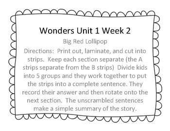 Wonders Unit 1 Week 2 Story Unscramble