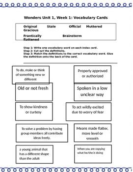 Wonders Unit 1 Week 1 Vocabulary